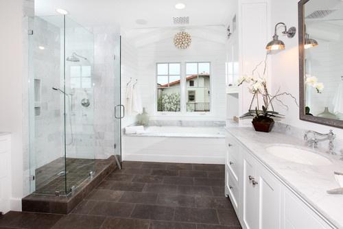 Dark floor tile with white master bath remodel pinterest