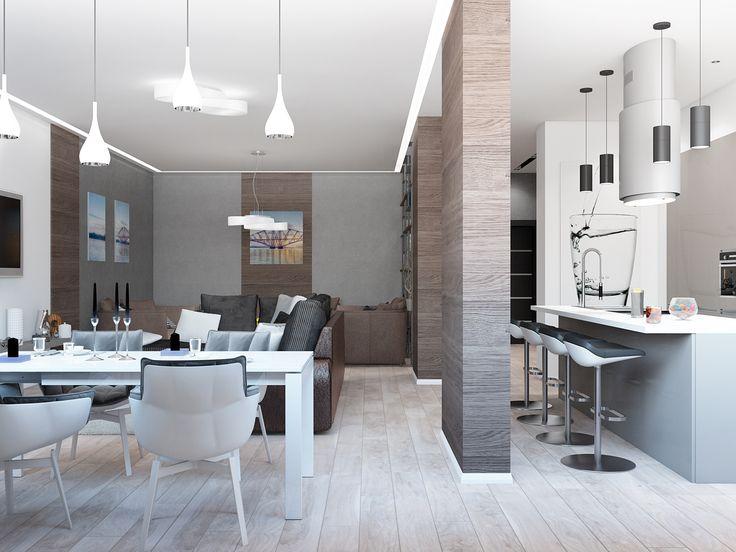 Интерьер студии в минималистичном стиле условно зонирован перегородками.