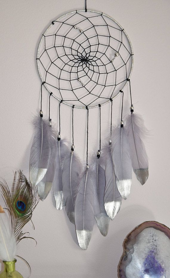 Dream Catcher Blue//White Wall Hanging Decoration Bead Ornament Feathers Long 30/""