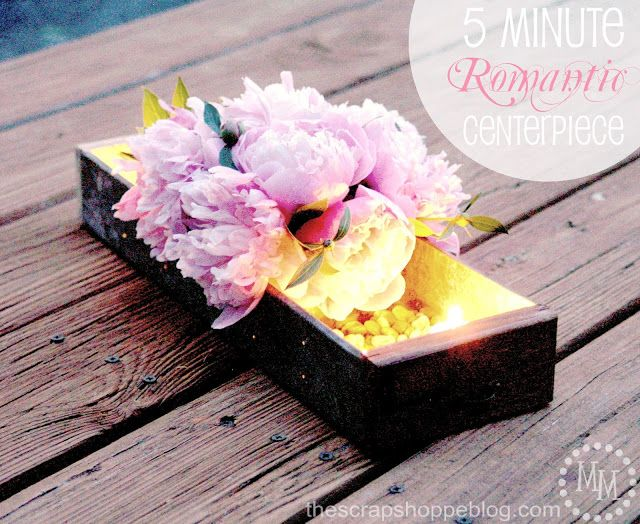 5 Minute Romantic Centerpiece - whip up a quick chic centerpiece with items you'll most likely already have on hand!