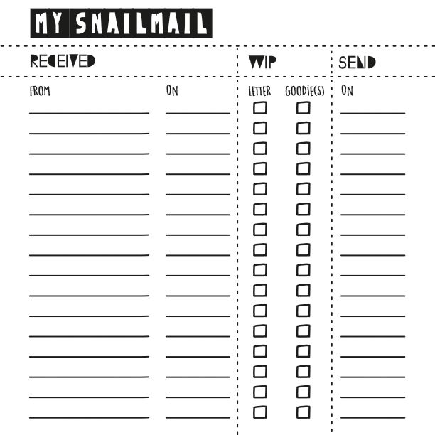I'm going to be needing this! This is a log to track your incoming and outgoing snail mail so you dont lose track of which of your pen pals you need to reply to.