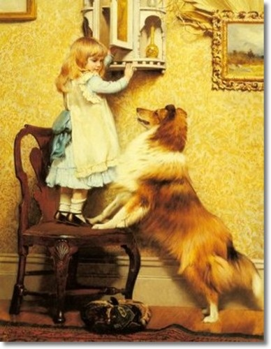 Charles Burton Barber - A Little Girl and Her Sheltie