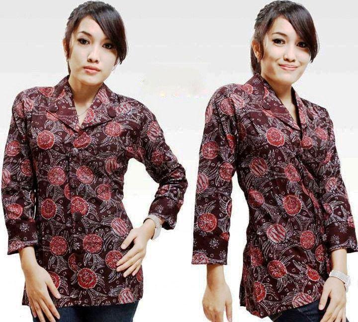Model Baju Batik Kantor Wanita Lengan Panjang Terbaru 2017