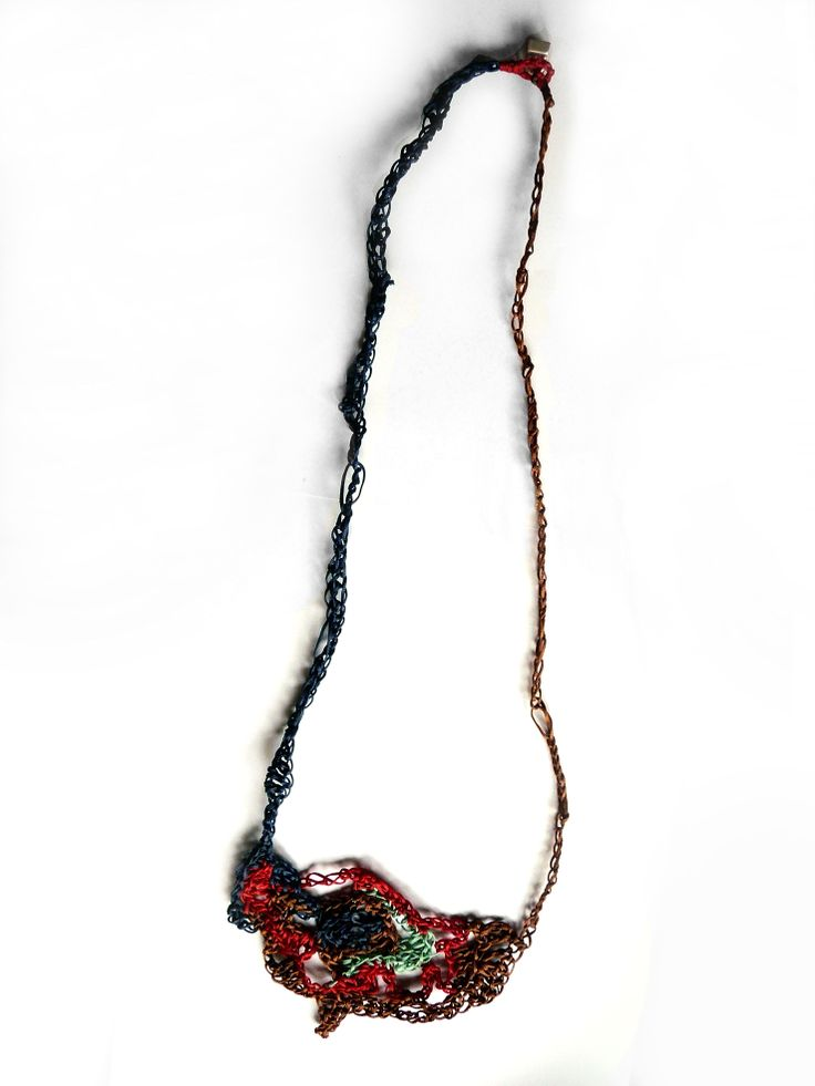 wax-thread_knitted_long necklace