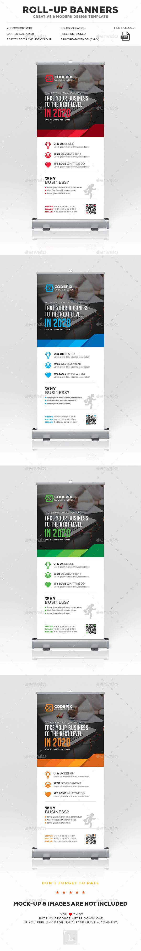 Corporate Roll-Up Banner by UXcred FILE INFORMATION:Easy customizable and editable 150 DPI CMYK Print Ready! Size 30?x70?.25? in with bleed 100 Layered and Full Edi