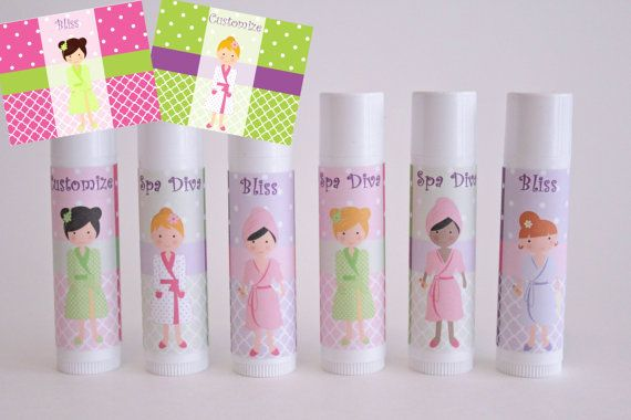 Spa Day Party Favor - Set of 6 - Customized Lip Balm - FREE Customization - Girl Party Favor - Kids Spa Party on Etsy, $12.00