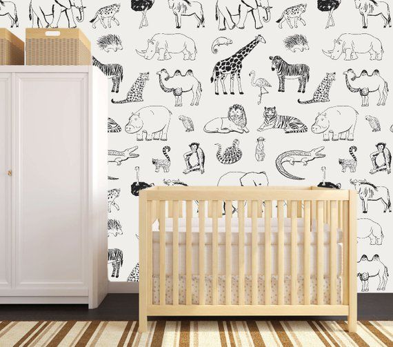Update Your Walls With Our Safari Animal Removable Wallpaper This Peel And Stick Wallpaper Feature Safari Nursery Walls Nursery Wallpaper Safari Nursery Decor