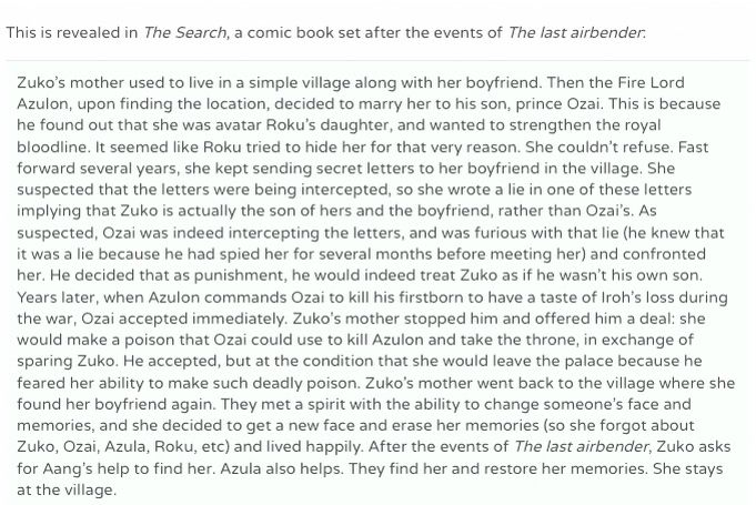 I went on Google to find out what happened to Zuko's mother and found this!