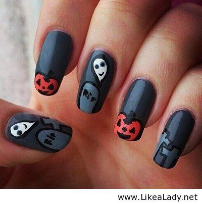 cute halloween nails cute halloween nailshalloween nail designseasy - Easy Cute Halloween Nail Designs