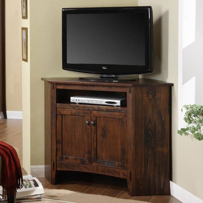 Corner TV Stand With 2 Door Cabinets And Rustic Style