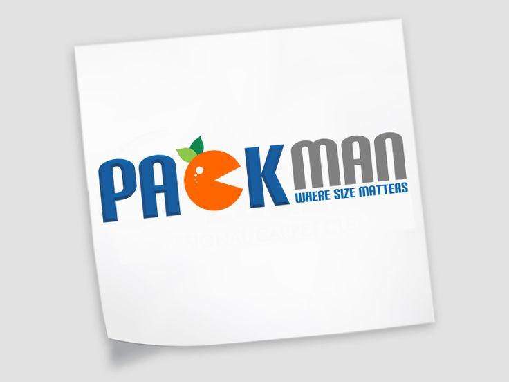 Packman Logo Design - Packing Machinery and Layout Design #fruitlogo #packmanlogo #blueandorangelogo