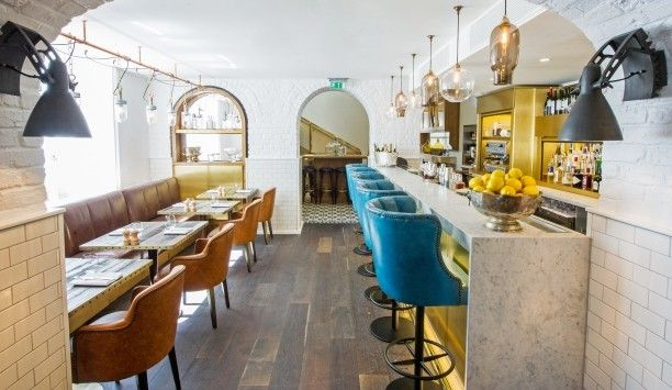 Love the colours and textures (marble, leather, metro tiles) in this restaurant at The Ampersand Hotel, London