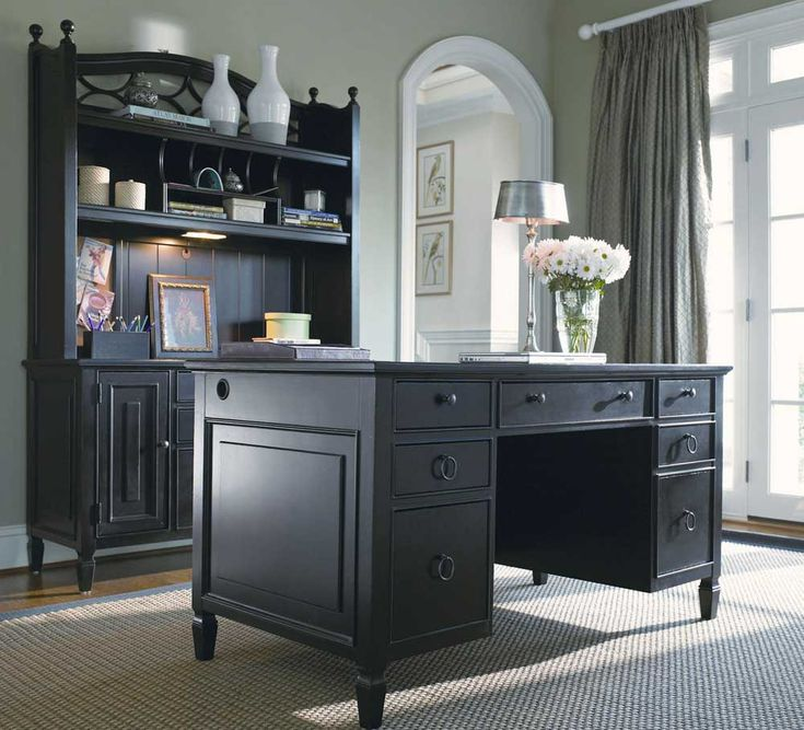 Superb Furniture, Small Home Office Design Painted With White Wall Interior Color  Decor Combined With Black Desk With Hutch And Drawer Furniture Storage  Ideas ... Photo