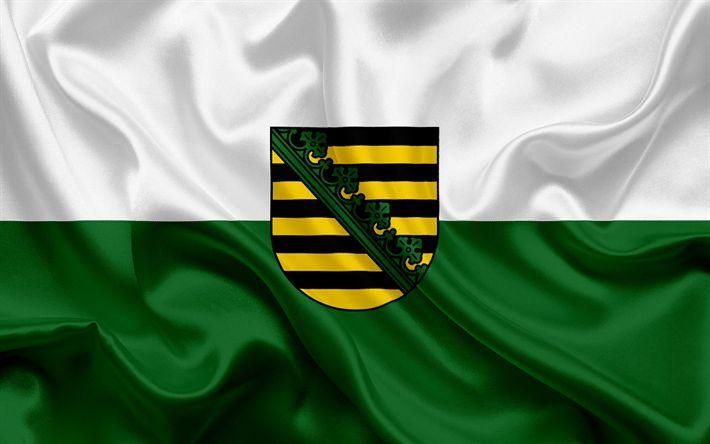 Descargar fondos de pantalla Bandera de Sajonia, de la Tierra de Alemania, las banderas de Tierras germanas, Sajonia, los Estados de Alemania, bandera de seda, República Federal de Alemania
