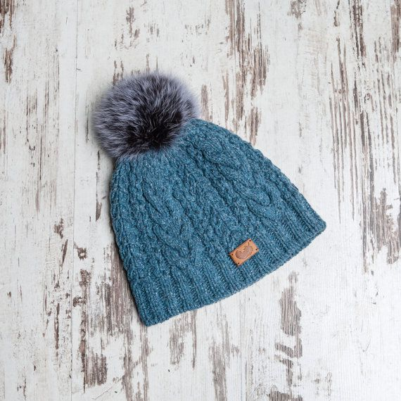 Knitted Hat,Tweed Knit Hat, Cable Hat,Woman Winter Hat, Deep Sea Hat,Woman Fashion,Knitted Hat, Beanie Hat Gray, Knitted Hat,Hat with PomPom