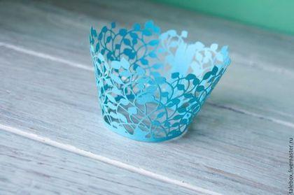 Праздничная атрибутика ручной работы. Ярмарка Мастеров - ручная работа. Купить Украшения для кексов-голубые листья. Handmade. Голубой