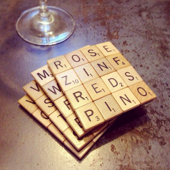 Scrabble Tile Coasters WINE THEME Set of 4 by reJENerationdesign, $22.00