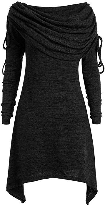 9c1422e7921 Wintialy Plus Size Womens Fashion Solid Ruched Long Foldover Collar Tunic  Top Blouse Tops  Clothing