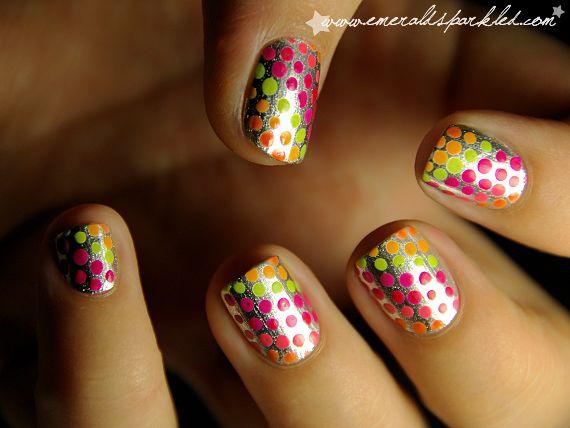 : Nails Art, Nailart, Nails Design, Shorts Nails, Polka Dots Nails, Summer Nails, Nails Polish, Neon Nails, The Dots