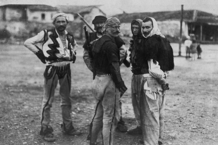 Albanian fighters in the employ of the Ottomans ready for a battle with Serbian forces in a photograph dated from 1912. At the conclusion of the First Balkan War, Albania—controlled by Serb and Greek troops—was designated to be an independent country.