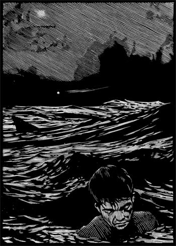 Barry Moser | Man Overboard | Wood engraving