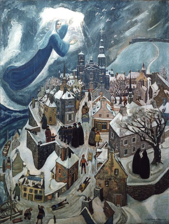 """In what is known as Lemieux's primitivist period (1940–1946), his art borrowed from the Italian primitives and from naïve art. Several large compositions combining religious and secular content date from this period. """"Our Lady Protecting Quebec City"""" (Notre Dame protégeant Québec), 1942, Séminaire de Québec. #ArtCanInstitute"""