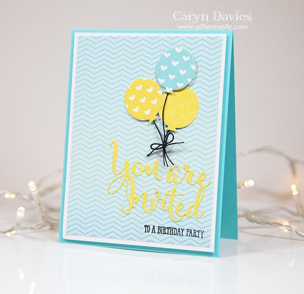 18 best invitations images on pinterest cards invitations and hello im here today with a cheerful birthday invitation using the youre invited die from avery elle this sunshine yellow and aquamarine colour combo is filmwisefo Image collections