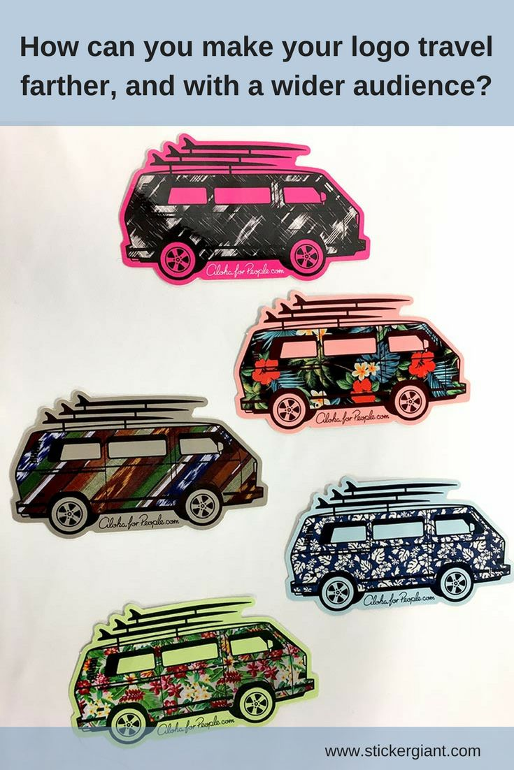 Try making one of your logo designs with multiple textures and patterns, to reach a wider audience. These custom die cut stickers are a great example of how the same shape and design can updated with different textures, that are appealing to differing audiences.