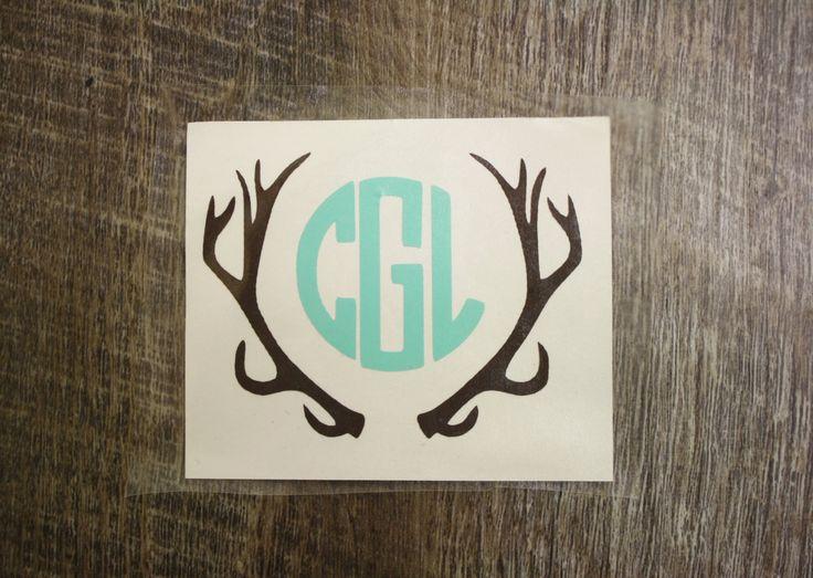 monogrammed deer antler decal