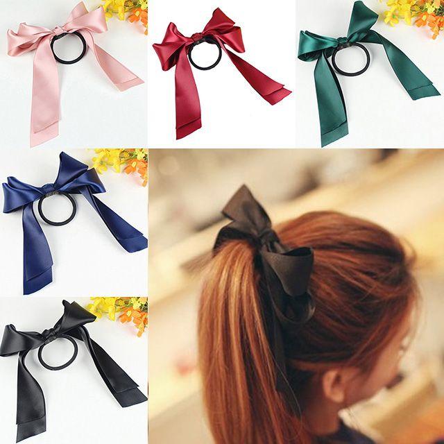 Sale Cute Women Headwear Ribbon Bow Rope Elastic Hair Band Girl Hair Accessories accesorios para el pelo hair rubber hair tie
