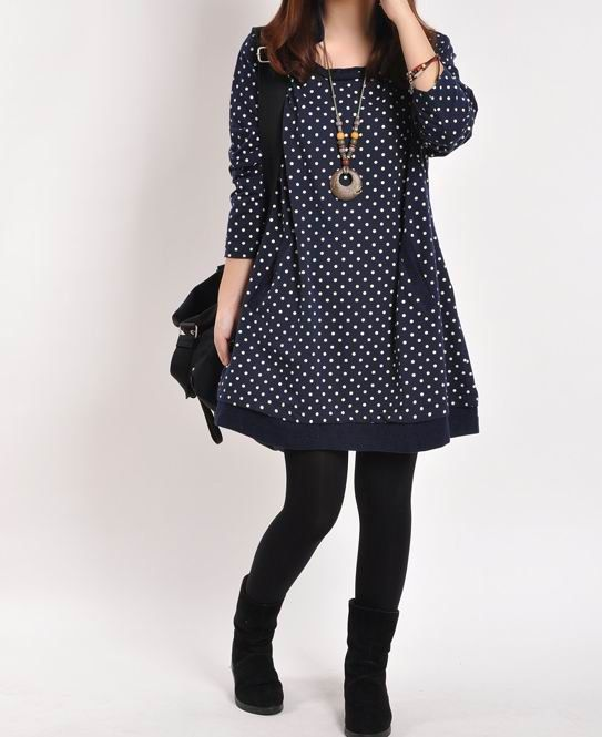 Dark blue cotton dress cotton tops Long di originalstyleshop, $65.00