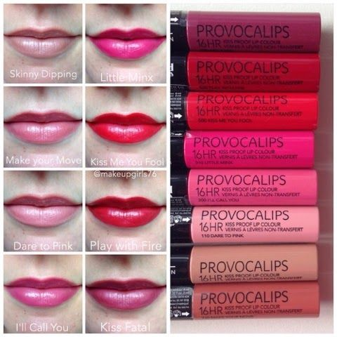 Makeupgirls76: Rimmel Provocalips 16HR Kissproof Lip Colour + All 8 Swatches