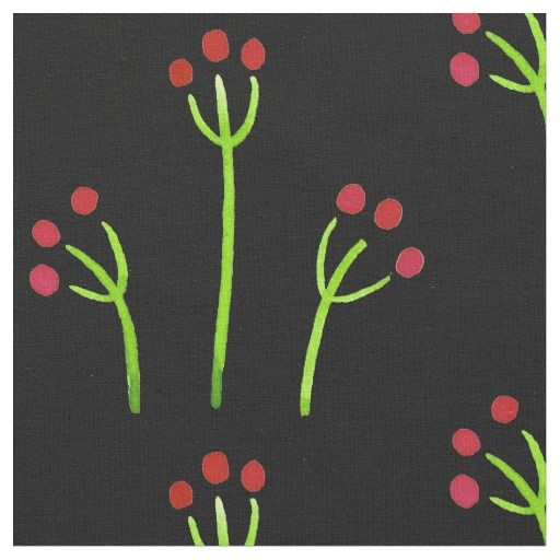 Folk Art Floral Fabric in black red and green #3