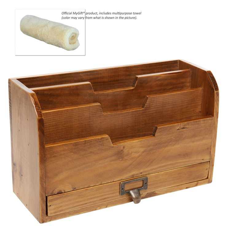 3 Tier Country Rustic Vintage Office Desk File Organizer & Mail Sorter w/ Storage Drawer| MyGift