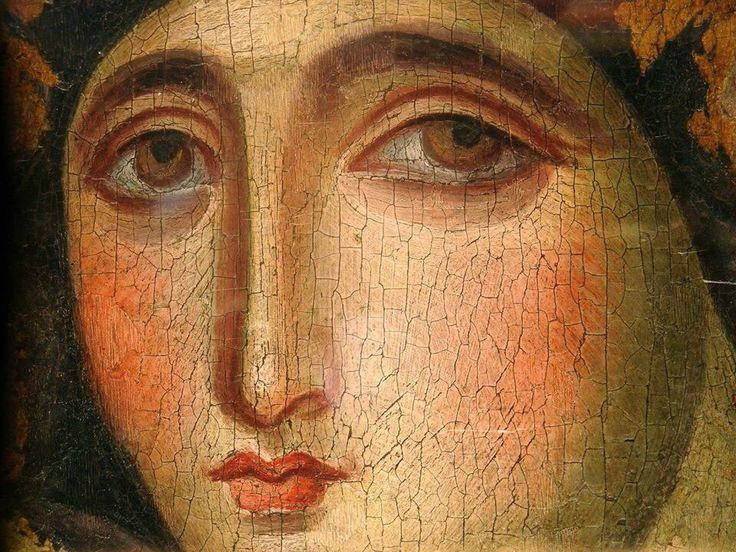 """Кассиана: """"Под твоим состраданием, мы принимаем прибежище, Матерь Божия: не пренебрегай наши ходатайства во время скорби, но спасти нас от опасностей, только чистый один, только один благословенный.  """""""