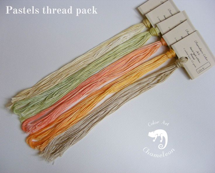 5 PCS Pure Cotton THREAD PACK Pastels - 6 metres/6.5 yards each by ChameleonColorArt on Etsy