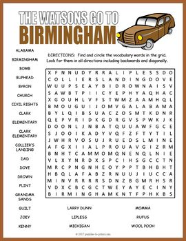 The Watsons Go To Birmingham Word Search With Images Novel