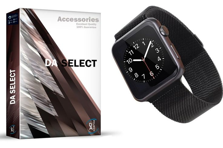 Apple Watch Band, D.A. Select 38mm Mesh Loop w Fully Strong Magnetic Stainless Steel Closure Clasp Milanese Strap for Apple iWatch Sport & Edition - (Black). Top stainless steel mesh loop in an elegant, original silver color, really dressed up your Apple watch, fit for all 38 mm versions of the apple watch. Silver mesh loop with durable adapters, very comfortable to wear and easy to install, replace 38mm apple watch band easily and directly. Strong magnetic clasp, convenient for you to...