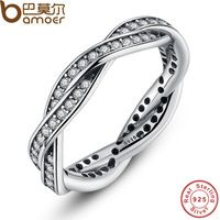 BISAER 100% 925 Sterling Silver BRAIDED PAVE SILVER RING with Clear CZ Authentic Twist Of Fate Stackable Ring Jewelry