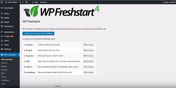 WP Freshstart 4.0 – what is it? Setting up a new wordpress site involves a lot of boring, time consuming tasks that take away 30 to 40 minutes each time you create a new site. Imagine setting up 5 sites or 10 sites taking away hours.