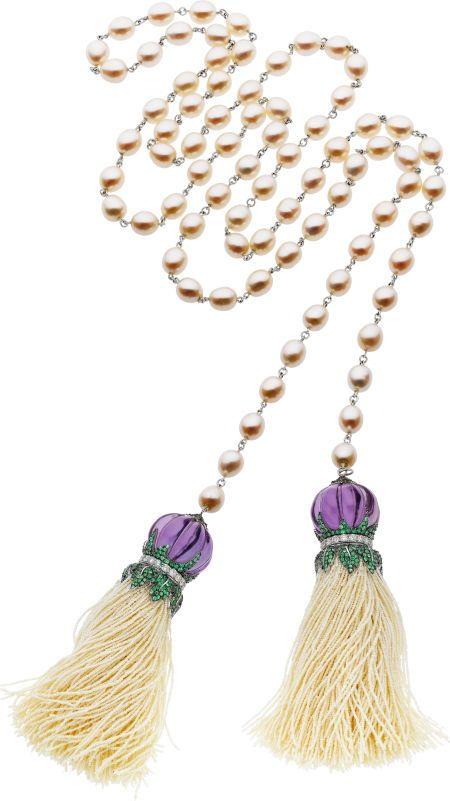 Piranesi Multi-Stone, Diamond, Cultured Pearl, Seed Pearl, White Gold Necklace From the Jitana Collection, 18k white gold with freshwater cultured pearls, amethyst, tsavorite, diamond and seed pearl Calypso tassel pendants.