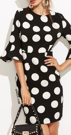 Black polka dot ruffle sleeve sheath dress.