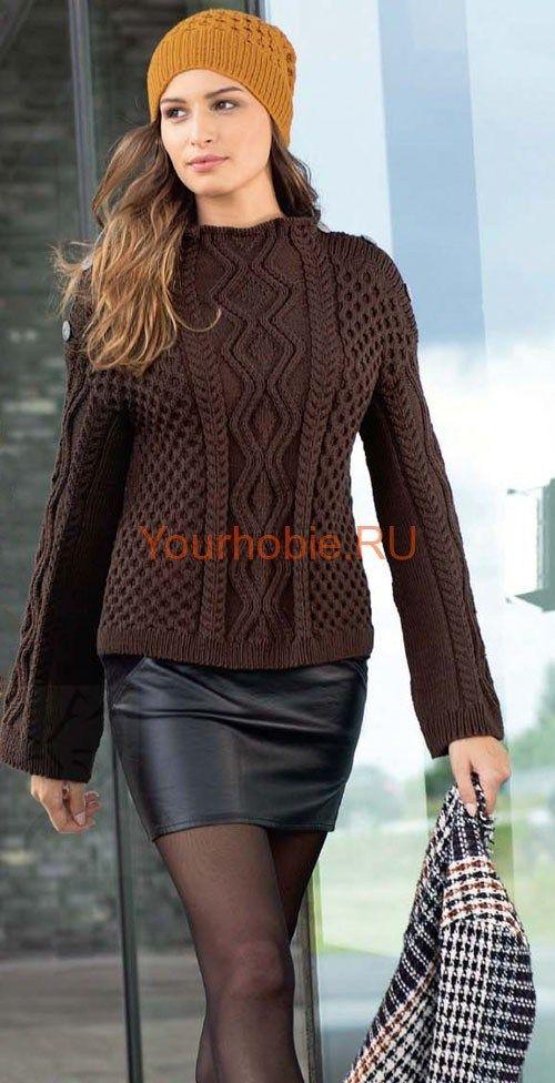Рельефный пуловер связанный спицами и янтарная шапка Рельефный пуловер связанный спицами, цвета мокко и янтарная шапка с узором из «сот» - эффектный дуэт для городских модниц. Пуловер размеры: 34/36 (40) 44/46 Вам потребуется: пряжа (100% натуральной шерсти; 120 м/50