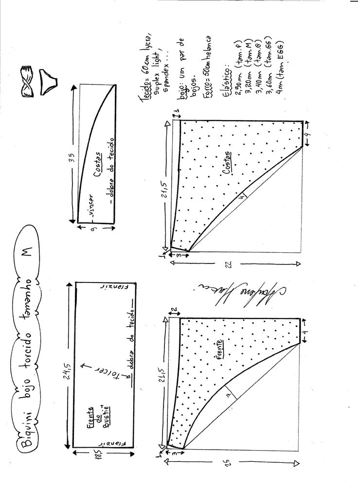 Esquema de modelagem de biquíni com bojo torcido tamanho M.