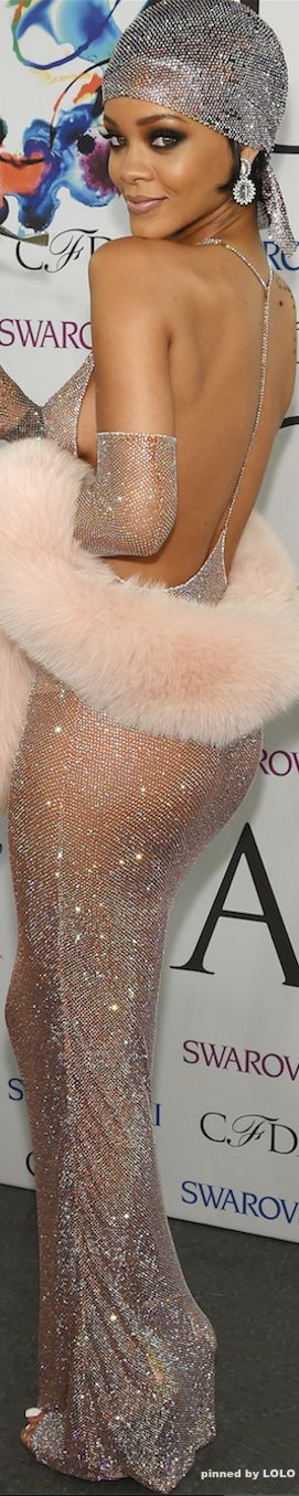 Rihanna in Adam Selman Red Carpet 2014 CFDA Awards