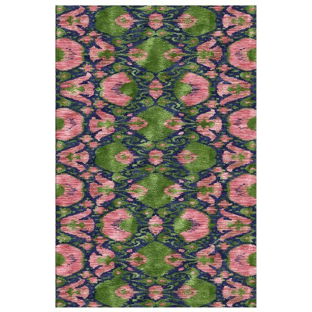Image of Hand-Knotted Silk Ikat Rug - 6′ × 9′