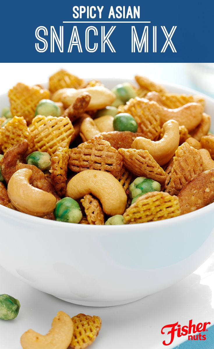 Spice up your life by whipping up this exciting Spicy Asian Snack Mix that combines wasabi peas, wheat cereal and FISHER Cashews, tossed together with nutty, dark sesame oil.