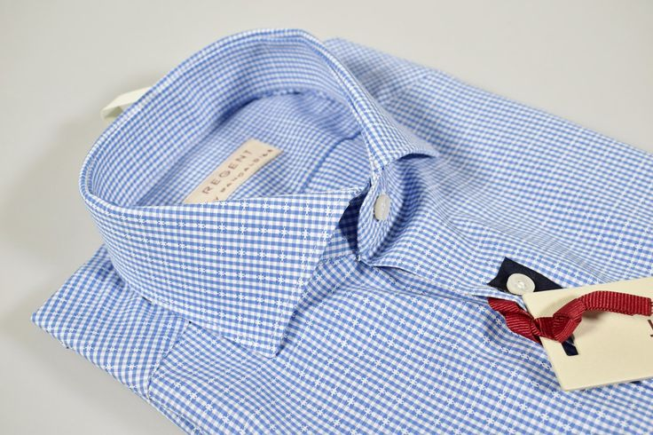Blue checkered shirt regent by pancaldi slim fit spread collar