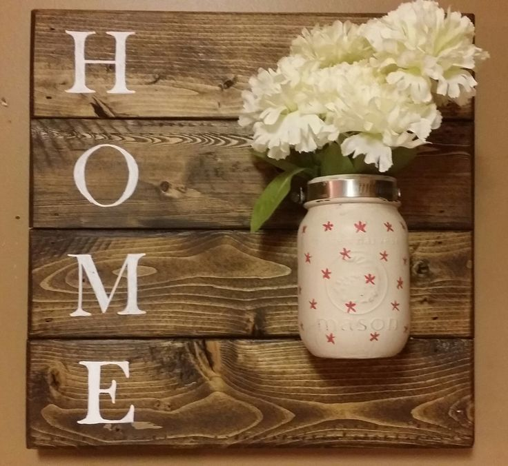 Home Sign,Rustic Home Decor,Wall Hanging, Mason Jar Holder Mason jar ...