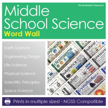 Bring middle school science vocabulary to life with this BIG collection of editable word wall cards for 6th, 7th, and 8th grade science. The big text and illustrated examples help students recall, explain, and use domain-specific science vocabulary. The color-coding adds context and makes it easy to stay organized.